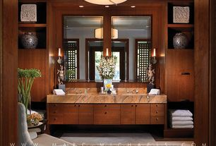 Contemporary Master Bathroom with three quarter bath, flush light, Wall sconce, Holt wing chair, picture window, Double sink
