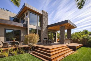"""Contemporary Deck with Fence, Roterra Stone Siding - Slate Collection California Gold / Ledge Stone 6""""x24"""""""