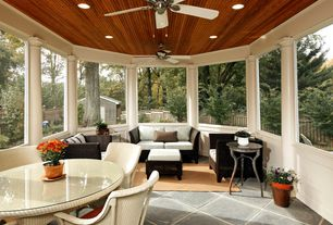 Traditional Porch with Fence, Screened porch, exterior tile floors