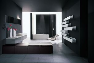 Contemporary Master Bathroom with Ceramic Tile, Pental inessence, grigio 24x24, European Cabinets, Corian counters, Paint 2