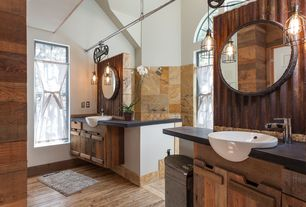 Contemporary Master Bathroom with Arched window, Shower, Flat panel cabinets, Limestone Tile, partial backsplash, Wall Tiles