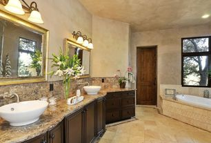 Rustic Master Bathroom with Casement, Wall Tiles, Stone Tile, Bathtub, specialty door, Master bathroom, stone tile floors