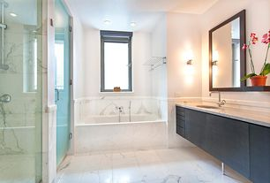 Contemporary Master Bathroom with ET2 Cilandro 2-Light Wall Mount, Zipcode Design Isabella Floating Wall Shelf, Flush