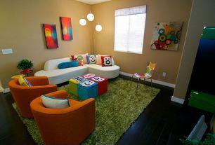 Contemporary Playroom with Lite source fola arc floor lantern, Mini blinds, Window cornice, Hardwood floors