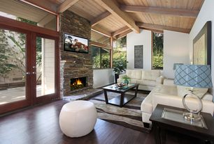 Contemporary Living Room with insert fireplace, High ceiling, Fireplace, French doors, Casement, Hardwood floors, Box ceiling