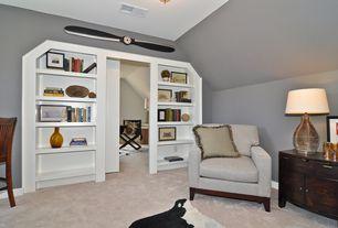Modern Home Office with Carpet, specialty door, Built-in bookshelf, Standard height