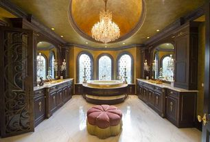 Traditional Master Bathroom with Glass panel door, Chandelier, Eastern accents glenwood ottoman, Flush, Flat panel cabinets