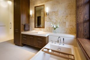 Contemporary Master Bathroom with Wall sconce, Custom Made Walnut Contemporary Bathroom-Vanity Designs, Corian counters