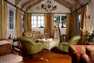 Cottage Living Room with High ceiling, Exposed beam, can lights, French doors, Chandelier, Casement, Wall sconce