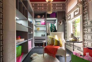 Asian Closet with Crown molding, Pendant light, Built-in bookshelf, Carpet, interior wallpaper