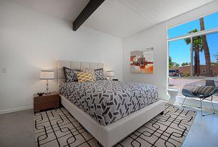 Modern Guest Bedroom with simple marble floors, Exposed beam