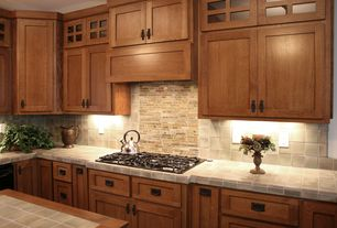 Craftsman Kitchen with Merola Tile - Essence Vanilla 4 in. x 4 in. Ceramic Floor and Wall Tile, Limestone tile counters