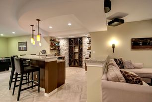 Contemporary Basement with Viper 7 ft. Arctic Ice Air Hocky Table, Built-in bookshelf, Paint 1, Paint 2, can lights