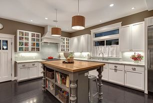 Traditional Kitchen with Subway Tile, Custom hood, Complex marble counters, Ms international - calacatta classic marble