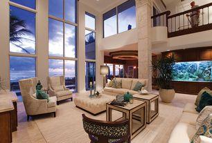 Modern Living Room with travertine floors, picture window, Sunpan Modern Noah Tufted Ottoman, Balcony, High ceiling, Columns