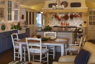 Country Kitchen with Breakfast nook, Restoration Hardware - 18TH C. LOUIS XV ARMCHAIR, Undermount sink, Kitchen island