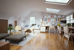 Contemporary Attic with Arobas 3 Drawer Lateral Filing Cabinet by Nexera, Skylight, Built-in bookshelf, DWR Shell Chair