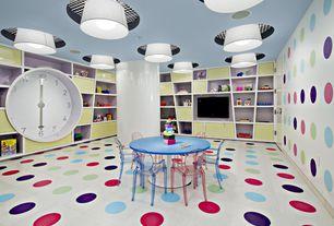 Contemporary Playroom with flush light, Philippe starck, Columns, Built-in bookshelf, interior wallpaper, Post modern