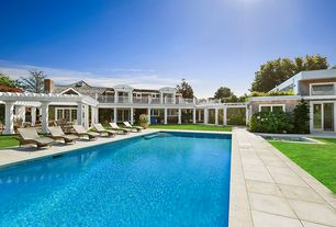 Contemporary Swimming Pool with Trellis, Pathway, Pool with hot tub, Lap pool, exterior stone floors