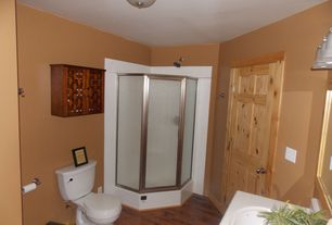Country Full Bathroom with Hardwood floors, Undermount sink, Flush, Flat panel cabinets, flush light, Corian counters
