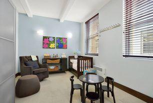 Contemporary Kids Bedroom with Built-in bookshelf, Fun Furnishings - Tres Chic Velvet Glider, Carpet, Exposed beam