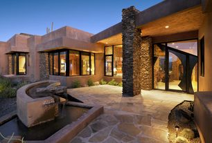 Contemporary Front Door with Bird bath, French doors, exterior stone floors, Pond, Pathway, Fountain