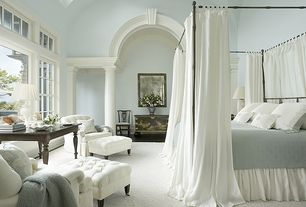 Traditional Master Bedroom with Skylight, High ceiling, Charles p. rogers cairo canopy bed, Pottery barn hanna quilt, Columns