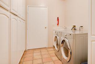 "Traditional Laundry Room with Solistone Terra Cotta 12""x12"" Cuadrado, High ceiling, terracotta tile floors"