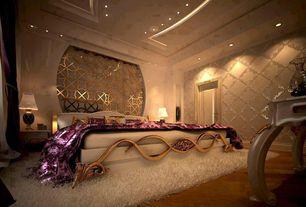 Art Deco Master Bedroom with interior wallpaper, Built-in bookshelf, Hardwood floors