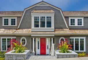 Cottage Front Door with specialty window, Paint, six panel door, Red front door, Wood shingle siding, Pathway, Raised beds