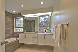 Contemporary Full Bathroom with Travertine counters, Double sink, frameless showerdoor, Undermount sink, Handheld showerhead