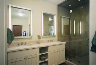 Modern 3/4 Bathroom with MS International  Sunny Light Limestone, frameless showerdoor, Undermount sink, Quartz, Double sink