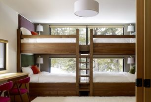 Contemporary Guest Bedroom with Hans upholstered dining chair, Pendant light, Simple ring shaded pendant, Hardwood floors