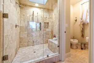 Traditional Master Bathroom with Handheld showerhead, Croydex - Professional Bath 0.8-Gal. Pedal Wastebasket, Skylight, Bidet