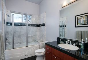 """Contemporary Full Bathroom with Limestone tile counters, Cabot granite tile absolute black / 12""""x12""""x3/8"""", Flush, Stone Tile"""