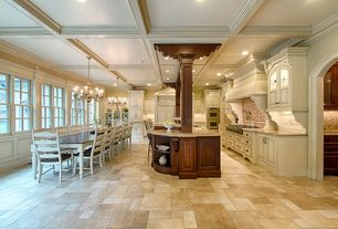 Kitchen with Raised panel, Kitchen island, Chandelier, Inset cabinets, Glass panel, L-shaped, Breakfast bar, Crown molding