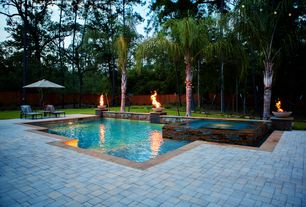 Contemporary Swimming Pool with Fence, Pool with hot tub