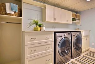 Traditional Laundry Room with Box ceiling, Standard height, laundry sink, Hanging Bar, Built-in bookshelf, Carpet