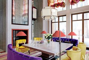 Eclectic Dining Room with Magnuss adjustable polished nickel pharmacy floor lamp, Carpet, Pendant light, French doors