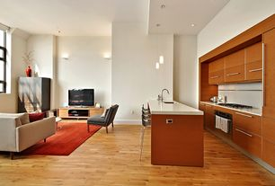 Modern Great Room with Hardwood floors, Pendant light, Built-in bookshelf, Standard height, can lights, Wall sconce