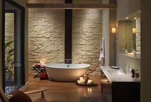 Contemporary Full Bathroom with Full Bath, European Cabinets, Paint, Wall Tiles, Wall sconce, Freestanding, Shower, Bathtub