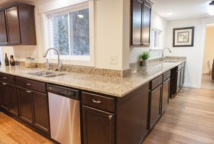 Craftsman Kitchen with Complex Granite, Flat panel cabinets, Thomasville cabinetry eden cherry chocolate cabinets, Paint