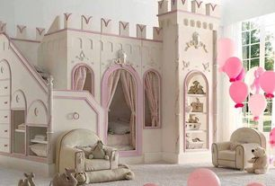 Contemporary Kids Bedroom with Bunk beds, High ceiling, Built-in bookshelf, Carpet, Tanglewood design castle vicari bunk bed