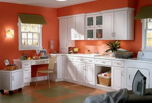 Traditional Laundry Room with Wall sconce, Built-in bookshelf, Wicker laundry basket linen, Carpet, flush light