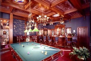 Traditional Game Room with flush light, Box ceiling, Carpet, Pendant light, Chandelier, Wainscotting, interior wallpaper