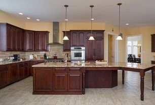 Traditional Kitchen with MS International Golden Beach Granite, Flush, Pendant light, Raised panel, Undermount sink, L-shaped