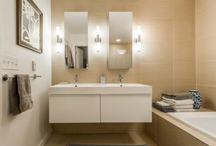 Contemporary Master Bathroom with Master bathroom, Flush, Double sink, frameless showerdoor, Undermount sink, Floating vanity