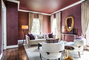 Contemporary Living Room with specialty window, Standard height, interior wallpaper, Hardwood floors, Crown molding