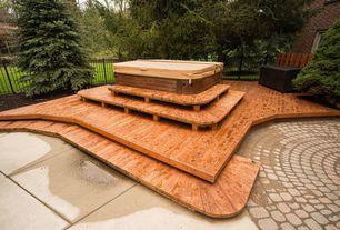 Craftsman Deck with Fence, exterior tile floors, exterior concrete tile floors