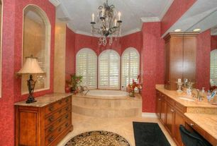 Traditional Master Bathroom with Flush, Safavieh lyndhurst collection traditional black/ ivory rug (8' round), Arched window